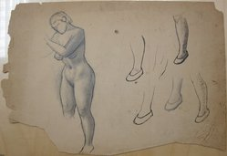 James Brooks (American, 1906-1992). <em>[Untitled] (Nude Female Figure and Five Slippered Feet)</em>, n.d. Ink and graphite on paper, Sheet (irregular): 16 3/16 x 23 7/8 in. (41.1 x 60.6 cm). Brooklyn Museum, Gift of Charlotte Park Brooks in memory of her husband, James David Brooks, 1996.54.233. © artist or artist's estate (Photo: Brooklyn Museum, CUR.1996.54.233.jpg)