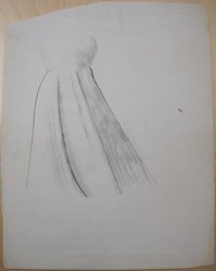 James Brooks (American, 1906-1992). <em>[Untitled] (Gown)</em>, n.d. Ink and charcoal on paper, Sheet: 23 15/16 x 18 13/16 in. (60.8 x 47.8 cm). Brooklyn Museum, Gift of Charlotte Park Brooks in memory of her husband, James David Brooks, 1996.54.234. © artist or artist's estate (Photo: Brooklyn Museum, CUR.1996.54.234.jpg)