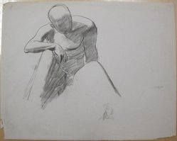 James Brooks (American, 1906-1992). <em>[Untitled] (Figure Sitting in Repose)</em>, n.d. Ink and charcoal on paper, Sheet: 18 13/16 x 23 11/16 in. (47.8 x 60.2 cm). Brooklyn Museum, Gift of Charlotte Park Brooks in memory of her husband, James David Brooks, 1996.54.237. © artist or artist's estate (Photo: Brooklyn Museum, CUR.1996.54.237.jpg)