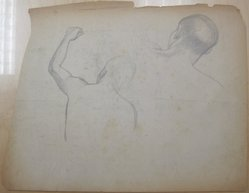 James Brooks (American, 1906-1992). <em>[Untitled] (Two Studies Back of a Head and Back with Upraised Left Arm)</em>, n.d. Graphite on paper, Sheet (irregular): 17 7/8 x 23 in. (45.4 x 58.4 cm). Brooklyn Museum, Gift of Charlotte Park Brooks in memory of her husband, James David Brooks, 1996.54.242. © artist or artist's estate (Photo: Brooklyn Museum, CUR.1996.54.242.jpg)