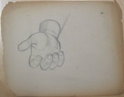 James Brooks (American, 1906-1992). <em>[Untitled] (Recto: Large Hand Open Palm Facing Up; Verso: Nude Female Line Drawings)</em>, n.d. Graphite on paper (recto); Charcoal on paper (verso), Sheet (Recto - irregular): 17 7/8 x 23 1/16 in. (45.4 x 58.6 cm). Brooklyn Museum, Gift of Charlotte Park Brooks in memory of her husband, James David Brooks, 1996.54.244a-b. © artist or artist's estate (Photo: Brooklyn Museum, CUR.1996.54.244a.jpg)