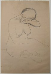 James Brooks (American, 1906-1992). <em>[Untitled] (Nude Female)</em>, n.d. Graphite on paper, Sheet: 17 3/4 x 11 13/16 in. (45.1 x 30 cm). Brooklyn Museum, Gift of Charlotte Park Brooks in memory of her husband, James David Brooks, 1996.54.3. © artist or artist's estate (Photo: Brooklyn Museum, CUR.1996.54.3.jpg)