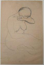 James Brooks (American, 1906-1992). <em>[Untitled] (Nude Female)</em>, n.d. Graphite on paper, Sheet: 17 3/4 x 11 13/16 in. (45.1 x 30 cm). Brooklyn Museum, Gift of Charlotte Park Brooks in memory of her husband, James David Brooks, 1996.54.3. © artist or artist's estate (Photo: Brooklyn Museum, CUR.1996.54.3.jpg)