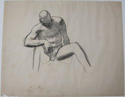 James Brooks (American, 1906-1992). <em>[Untitled] (Seated Man)</em>, n.d. Ink and charcoal on paper, Sheet: 18 13/16 x 23 11/16 in. (47.8 x 60.2 cm). Brooklyn Museum, Gift of Charlotte Park Brooks in memory of her husband, James David Brooks, 1996.54.30. © artist or artist's estate (Photo: Brooklyn Museum, CUR.1996.54.30.jpg)