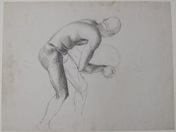 James Brooks (American, 1906-1992). <em>[Untitled] (Nude Male in Profile)</em>, n.d. Graphite and charcoal(?) on paper, Sheet: 16 x 21 in. (40.6 x 53.3 cm). Brooklyn Museum, Gift of Charlotte Park Brooks in memory of her husband, James David Brooks, 1996.54.31. © artist or artist's estate (Photo: Brooklyn Museum, CUR.1996.54.31.jpg)