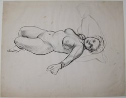 James Brooks (American, 1906-1992). <em>[Untitled] (Recto: Nude Female; Verso: Kneeling Nude)</em>, n.d. Ink on paper, Sheet (recto): 18 13/16 x 23 15/16 in. (47.8 x 60.8 cm). Brooklyn Museum, Gift of Charlotte Park Brooks in memory of her husband, James David Brooks, 1996.54.33a-b. © artist or artist's estate (Photo: Brooklyn Museum, CUR.1996.54.33a.jpg)