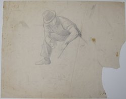 James Brooks (American, 1906-1992). <em>[Untitled] (Kneeling Man)</em>, n.d. Graphite on paper, Sheet: 18 13/16 x 23 7/8 in. (47.8 x 60.6 cm). Brooklyn Museum, Gift of Charlotte Park Brooks in memory of her husband, James David Brooks, 1996.54.6. © artist or artist's estate (Photo: Brooklyn Museum, CUR.1996.54.6.jpg)