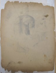 James Brooks (American, 1906-1992). <em>[Untitled] (An Upper Torso and a Hand)</em>, n.d. Charcoal and graphite on paper, Sheet: 23 1/2 x 17 7/8 in. (59.7 x 45.4 cm). Brooklyn Museum, Gift of Charlotte Park Brooks in memory of her husband, James David Brooks, 1996.54.96. © artist or artist's estate (Photo: Brooklyn Museum, CUR.1996.54.96.jpg)