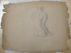 James Brooks (American, 1906-1992). <em>[Untitled] (Seated Nude)</em>, n.d. Graphite on paper, Sheet: 17 7/8 x 23 1/4 in. (45.4 x 59.1 cm). Brooklyn Museum, Gift of Charlotte Park Brooks in memory of her husband, James David Brooks, 1996.54.97. © artist or artist's estate (Photo: Brooklyn Museum, CUR.1996.54.97.jpg)