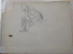 James Brooks (American, 1906-1992). <em>[Untitled] (A Working Male)</em>, n.d. Charcoal on paper, Sheet: 17 15/16 x 23 7/8 in. (45.6 x 60.6 cm). Brooklyn Museum, Gift of Charlotte Park Brooks in memory of her husband, James David Brooks, 1996.54.98. © artist or artist's estate (Photo: Brooklyn Museum, CUR.1996.54.98.jpg)