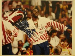"Susan C. Ragan (American, born 1947). <em>Earvin ""Magic"" Johnson, Gold Medal Winner, Barcelona, Spain</em>, 1992. Chromogenic photograph on Kodak Professional paper, 11 x 14 in.  (27.9 x 35.6 cm). Brooklyn Museum, Gift of Mr. and Mrs. GIlbert Millstein, 1998.118.3. © artist or artist's estate (Photo: Brooklyn Museum, CUR.1998.118.3.jpg)"