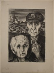 Riva Helfond (American, 1910-2002). <em>Miner and Wife</em>, 1937. Lithograph on paper, Sheet: 15 15/16 x 11 1/2 in. (40.5 x 29.2 cm). Brooklyn Museum, Purchase gift of The Richard Florsheim Art Fund, 1998.158.1. © artist or artist's estate (Photo: Brooklyn Museum, CUR.1998.158.1.jpg)