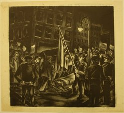 Riva Helfond (American, 1910-2002). <em>Protest (recto) and Zinnias (verso)</em>, 1940. Lithograph on paper, Sheet: 16 11/16 x 18 1/2 in. (42.4 x 47 cm). Brooklyn Museum, Purchase gift of The Richard Florsheim Art Fund, 1998.158.3a-b. © artist or artist's estate (Photo: Brooklyn Museum, CUR.1998.158.3a.jpg)