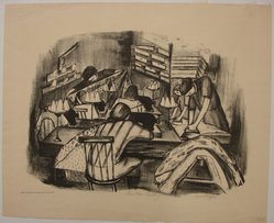 Riva Helfond (American, 1910-2002). <em>Curtain Factory</em>, 1936/1939. Lithograph on paper, Sheet: 16 x 19 1/16 in. (40.6 x 48.4 cm). Brooklyn Museum, Purchase gift of The Richard Florsheim Art Fund, 1998.158.4. © artist or artist's estate (Photo: Brooklyn Museum, CUR.1998.158.4.jpg)