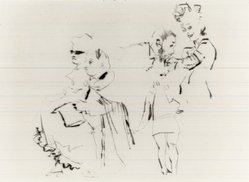 Jack Levine (American, 1915-2010). <em>At the Ball</em>, 1968. Drypoint, Image: 4 7/8 x 6 13/16 in. (12.4 x 17.3 cm). Brooklyn Museum, Gift of Peter R. Blum, 1998.191.6. © artist or artist's estate (Photo: Brooklyn Museum, CUR.1998.191.6.jpg)