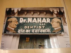 Marilynn Gelfman (American, born 1939). <em>Udaipur, Rajasthan, India (Dentist Sign)</em>, 1997. Chromogenic dye coupler photograph, image/sheet: 16 x 11 in. (40.6 x 27.9 cm). Brooklyn Museum, Gift of the artist, 1998.9.2. © artist or artist's estate (Photo: Brooklyn Museum, CUR.1998.9.2.jpg)