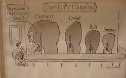 Jim Meadows. <em>Exotic Art Supplies</em>, 1999. Pen and ink on paper, 10 11/16 x 7 7/8 in.  (27.1 x 20.0 cm). Brooklyn Museum, Mary Smith Dorward Fund, 2001.100. © artist or artist's estate (Photo: Brooklyn Museum, CUR.2001.100_MV_photograph.jpg)