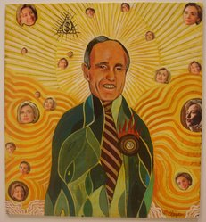 Christian Clayton (American, born 1967). <em>Rudy Two Shoes (Portrait of Rudy Giuliani as the Virgin Mary)</em>, 1999. Oil and collage on cut printed paper on fiber based board attached to foamcore board, 9 7/16 x 8 11/16 x 1/16 in. (24 x 22.1 x 0.2 cm). Brooklyn Museum, Mary Smith Dorward Fund