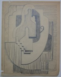 Blanche Lazzell (American, 1879-1956). <em>Sketch for Abstract Composition</em>, 1924. Graphite on paper, Sheet: 10 5/8 x 8 1/4 in. (27 x 21 cm). Brooklyn Museum, Gift of Dr. Abram Kanof and Theodore Keel, by exchange, Charles Stewart Smith Memorial Fund, and Dick S. Ramsay Fund, 2006.43.11. © artist or artist's estate (Photo: Brooklyn Museum, CUR.2006.43.11.jpg)