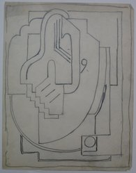 Blanche Lazzell (American, 1879-1956). <em>Sketch for Abstract Composition</em>, 1924. Graphite on paper, Sheet: 10 5/8 x 8 1/4 in. (27 x 21 cm). Brooklyn Museum, Gift of Dr. Abram Kanof and Theodore Keel, by exchange, Charles Stewart Smith Memorial Fund, and Dick S. Ramsay Fund, 2006.43.9. © artist or artist's estate (Photo: Brooklyn Museum, CUR.2006.43.9.jpg)