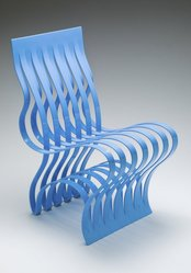 "Vivian Beer (American, born 1977). <em>""Current"" Chair</em>, designed 2004, manufactured 2008. Formed and fabricated steel and automotive paint, 32 1/8 x 16 x 22 in. (81.6 x 40.6 x 55.9 cm). Brooklyn Museum, Gift of Mrs. J. Fuller Feder, Marcus S. Friedlander, and Mrs. Clifford D. Mallory in memory of Mr. and Mrs. Henry Rogers Mallory, by exchange, 2012.54. © artist or artist's estate (Photo: Image courtesy of Vivian Beer Studio Works, CUR.2012.54_artist_photo.jpg)"