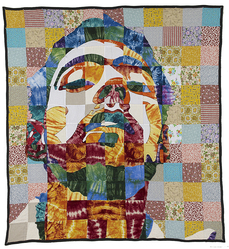 "Luke Haynes (American, born 1982). <em>""On My Bed #1 Tradition"" Quilt</em>, 2006. Various textiles, 90 x 82 1/2 in. (228.6 x 209.6 cm). Brooklyn Museum, Gift of Abraham & Straus, by exchange, 2012.55. © artist or artist's estate (Photo: Image courtesy of the artist, CUR.2012.55_artist_photograph.jpg)"