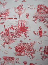 "Mike Diamond (American, born 1965). <em>Wallpaper, ""Brooklyn Toile"" pattern</em>, designed 2012; printed 2012. Printed vinyl, a: 24 1/8 x 27 in. (61.3 x 68.6 cm). Brooklyn Museum, Gift of Flavor Paper, 2012.61.1a-b. © artist or artist's estate (Photo: Brooklyn Museum, CUR.2012.61.1a-b.jpg)"
