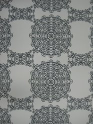 "Brian Kaspr and Payton Cosell Turner. <em>Wallpaper, ""Eyelets"" Pattern</em>, designed 2010. Printed paper, a: 24 3/4 x 30 in. (62.9 x 76.2 cm). Brooklyn Museum, Gift of Flat Vernacular, 2012.64.3a-f. © artist or artist's estate (Photo: Brooklyn Museum, CUR.2012.64.3a-b.jpg)"