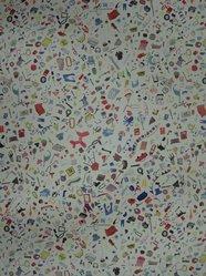 "Brian Kaspr and Payton Cosell Turner. <em>Wallpaper, ""Too Much Stuff"" pattern</em>, designed 2010. Printed paper, a: 24 3/4 x 30 1/8 in. (62.9 x 76.5 cm). Brooklyn Museum, Gift of Flat Vernacular, 2012.64.6a-b. © artist or artist's estate (Photo: Brooklyn Museum, CUR.2012.64.6a-b.jpg)"