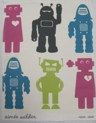 "Aimée Wilder (American, born 1979). <em>Wallpaper, ""Robots"" pattern</em>, designed 2008, released 2009. Printed paper, a: 24 x 27 1/8 in. (61 x 68.9 cm). Brooklyn Museum, Gift of Aimée Wilder, 2012.67.1a-e. © artist or artist's estate (Photo: Brooklyn Museum, CUR.2012.67.1c.jpg)"