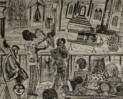 Vincent DaCosta Smith (American, 1930-2003). <em>A Moment Supreme</em>, 1972. Drypoint etching on paper, plate: 8 3/4 x 10 3/4 in. (22.2 x 27.3 cm). Brooklyn Museum, Gift of R.M. Atwater, Anna Wolfrom Dove, Alice Fiebiger, Joseph Fiebiger, Belle Campbell Harriss, and Emma L. Hyde, by exchange, Designated Purchase Fund, Mary Smith Dorward Fund, Dick S. Ramsay Fund, and  Carll H. de Silver Fund, 2012.80.10. © artist or artist's estate (Photo: Brooklyn Museum, CUR.2012.80.10.jpg)