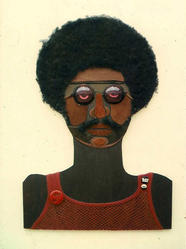 Marie Johnson Calloway (American, born 1920). <em>Witchdoctor II</em>, ca. 1970. Mixed media (hair, leather, fabric, buttons), 36 x 24 in. (91.4 x 61 cm). Brooklyn Museum, Gift of R.M. Atwater, Anna Wolfrom Dove, Alice Fiebiger, Joseph Fiebiger, Belle Campbell Harriss, and Emma L. Hyde, by exchange, Designated Purchase Fund, Mary Smith Dorward Fund, Dick S. Ramsay Fund, and  Carll H. de Silver Fund, 2012.80.20. © artist or artist's estate (Photo: Brooklyn Museum, CUR.2012.80.20.jpg)
