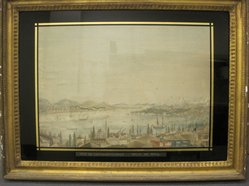 <em>View of Constantinople (Vue de Constantinople)</em>, late 18th century. Silk threads on silk ground, eglomise surround, gilt wood frame, 21 3/8 x 28 1/4 in. (54.3 x 71.8 cm). Brooklyn Museum, Gift of Sarah B. Sherrill, 2013.46.1 (Photo: Brooklyn Museum, CUR.2013.46.1_overall.jpg)