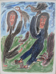 """Thornton Dial (American, 1928-2016). <em>Bird Catcher Ladies</em>, 1992. Water-soluble crayon, transparent watercolor, charcoal and color pencil, sheet: 29 15/16 × 22 1/2 in. (76 × 57.2 cm). Brooklyn Museum, Gift of Auldlyn Higgins Williams and E. T. Williams, Jr. in memory of their parents, Dr. I. Bradshaw Higgins and Hilda Moseley Higgins and Edgar T. """"Ned"""" Williams and Elnora Bing Williams Morris, 2013.72.3. © artist or artist's estate (Photo: , CUR.2013.72.3.JPG)"""