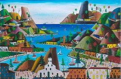 Préfète Duffaut (Haitian, 1923-2012). <em>Imaginary Village</em>, 1965. Oil on Masonite, 23 x 29 in. (58.4 x 73.7 cm). Brooklyn Museum, Gift of Vivian D. Hewitt, 2014.111.10. © artist or artist's estate (Photo: Image courtesy of Vivian Hewitt, CUR.2014.111.10_Vivian_Hewitt_photograph.jpg)