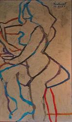 Max Pinchinat (Haitian, 1925-1985). <em>Seated Nude</em>, 1959. Oil on canvas, 30 3/4 x 15 in. (78.1 x 38.1 cm). Brooklyn Museum, Gift of Vivian D. Hewitt, 2014.111.11. © artist or artist's estate (Photo: Image courtesy of Vivian Hewitt, CUR.2014.111.11_Vivian_Hewitt_photograph.jpg)