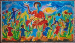 Luckner Lazard (Haitian, 1928-1998). <em>Mother of Spring</em>, 1972. Acrylic on canvas, 66 x 108 in. (167.6 x 274.3 cm). Brooklyn Museum, Gift of Vivian D. Hewitt, 2014.111.6. © artist or artist's estate (Photo: Image courtesy of Vivian Hewitt, CUR.2014.111.6_Vivian_Hewitt_photograph.jpg)