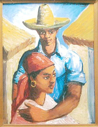 Xavier Amiama (Dominican, 1910-1969). <em>Couple</em>, ca. 1960. Oil on canvas, 15 3/4 x 11 3/4 in. (40 x 29.8 cm). Brooklyn Museum, Gift of Vivian D. Hewitt, 2014.111.9. © artist or artist's estate (Photo: Image courtesy of Vivian Hewitt, CUR.2014.111.9_Vivian_Hewitt_photograph.jpg)