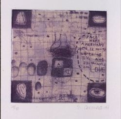 Squeak Carnwath (American, born 1947). <em>Fact or Fiction</em>, 1994. Etching, soft ground etching and aquatint with chine-colle, 13 x 12 in. (33 x 30.5 cm). Brooklyn Museum, Gift of Sarah-Ann & Werner H. Kramarsky Collection, New York, 2014.113.3. © artist or artist's estate (Photo: Image courtesy of Werner H. Kramarsky, CUR.2014.113.3_Kramarsky_photo.jpg)