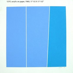 Tom V. Schmitt (American, born 1929). <em>Diagonal Blues 121F</em>, 1969. Acrylic on paper, 17 1/2 x 17 1/2 in. (44.5 x 44.5 cm). Brooklyn Museum, Gift of the artist, 2014.85.10. © artist or artist's estate (Photo: Image courtesy of the artist, CUR.2014.85.10_Schmitt_photograph.jpg)