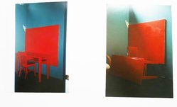 Dale Henry (American, 1931-2011). <em>Cadmium-Vermillion (Barium) Red Medium - Studio</em>, 1978. Table, chair, oil on canvas and wall painting, (a) table: 30 x 52 x 24 in. (76.2 x 132.1 x 61 cm). Brooklyn Museum, Gift of Alanna L. Heiss, 2015.13a-c. © artist or artist's estate (Photo: Image courtesy of the artist, CUR.2015.13a-c_AlannaHeiss_photograph.jpg)