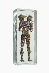 Dustin Yellin (American, born 1975). <em>Miniature Psychogeography 54</em>, 2015. Glass, paper collage, and acrylic, 35 x 13 3/4 x 7 3/4 in. (88.9 x 34.9 x 19.7 cm). Brooklyn Museum, Gift of the artist in honor of Arnold Lehman, 2015.24a-b. © artist or artist's estate (Photo: Image courtesy of the artist, CUR.2015.24a-b_DustinYellin_photograph.jpg)