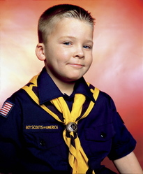 Andres Serrano (American, born 1950). <em>Boy Scout John Schneider, Troop 422</em>, 2002. Silver dye bleach photograph (Cibachrome), sheet: 50 x 60 in. (127 x 152.4 cm). Brooklyn Museum, Gift of Irina and Andres Serrano in honor of Arnold  Lehman, 2015.33.2. © artist or artist's estate (Photo: Image courtesy of the artist, CUR.2015.33.2_Serrano_photograph.jpg)