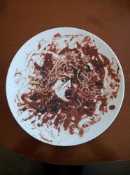 Vik Muniz (born Brazil, 1961). <em>[Untitled] (Spaghetti Medusa) (Medusa Marinara)</em>, 1999. Hard-paste porcelain with enamel, 12 1/2 in. (31.8 cm). Brooklyn Museum, Gift of Ellen Holtzman, 2015.75.3. © artist or artist's estate (Photo: Brooklyn Museum, CUR.2015.75.3.jpg)