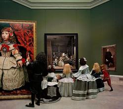 Yasumasa Morimura (Japanese, born 1951). <em>Las Meninas Renacen de Noche IV: Peering at the Secret Scene Behind the Artist</em>, 2013. Chromogenic photograph, 58 1/4 x 65 3/4 in. (148 x 167 cm). Brooklyn Museum, Alfred T. White Fund and Designated Purchase Fund, 2015.9. © artist or artist's estate (Photo: Image courtesy of the artist, CUR.2015.9_Morimura_photograph.jpg)