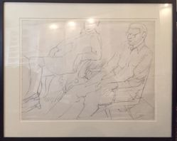 Philip Pearlstein (American, born 1924). <em>Study for Portrait of Linda Nochlin and Richard Pommer</em>, 1968. Graphite on paper, frame (approx.): 20 × 24 × 1 1/2 in. (50.8 × 61 × 3.8 cm). Brooklyn Museum, Gift of the Estate of Linda Nochlin Pommer, 2018.20.1. © artist or artist's estate (Photo: , CUR.2018.20.1.jpg)