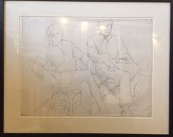 Philip Pearlstein (American, born 1924). <em>Study for Portrait of Linda Nochlin and Richard Pommer</em>, 1968. Graphite on paper, frame (approx.): 20 × 24 × 1 1/2 in. (50.8 × 61 × 3.8 cm). Brooklyn Museum, Gift of the Estate of Linda Nochlin Pommer, 2018.20.2. © artist or artist's estate (Photo: , CUR.2018.20.2.jpg)