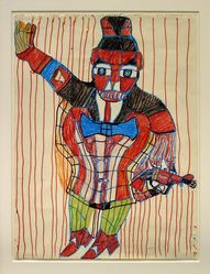 Henry Speller (American, 1900-1997). <em>Man with Gun</em>, 1988. Marker on paper, 24 × 18 in. (61.0 × 45.7 cm). Brooklyn Museum, Gift of the Souls Grown Deep Foundation from the William S. Arnett Collection, 2018, 2018.28.3. © artist or artist's estate (Photo: , CUR.2018.28.3.jpg)