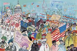 Maira Kalman (Israeli, born 1949). <em>Our Voices Will Be Heard</em>, 2018. Gouache on paper, 8 1/2 × 12 1/2 in. (21.6 × 31.8 cm). Brooklyn Museum, Alfred T. White Fund, 2018.60. © artist or artist's estate (Photo: , CUR.2018.6.jpg)