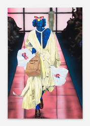 Jamian Juliano-Villani (American, born 1987). <em>Three Penny Opera</em>, 2018. Acrylic on canvas, 74 × 50 in. (188.0 × 127.0 cm). Brooklyn Museum, Gift of Bill Block, 2018.7. © artist or artist's estate (Photo: Photo courtesy Jamian Juliano-Villani, CUR.2018.7_Jamian Juliano-Villani_photograph.jpg)